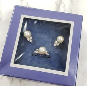 Avon Set of Faux Pearl Earrings and Ring